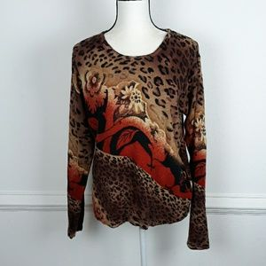 CATHY DANIELS 100% CASHMERE ANIMAL PRINT SWEATER